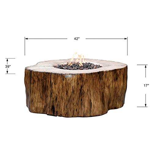 Elementi Manchester 42 x 39 x 17 inches Cast Concrete Natural Gas Fire Table - Redwood Shape Fire Pits & Outdoor Fireplaces - Stainless Steel Burner - Canvas Cover and Lava Rock Included