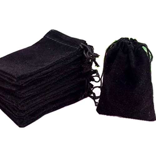 "HOSL 100 Pieces Wholesale Lot - Black Velvet Cloth Jewelry Pouches/Drawstring Bags 3"" X 4"" (100, Black)"