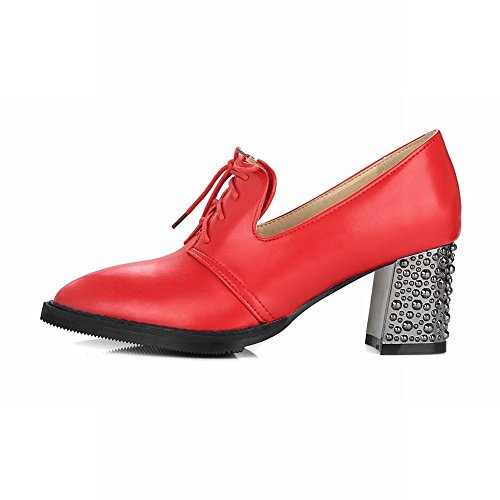 Escarpins Femmes Rouge MissSaSa Bloc Pointue Talons Bout faq55xHO