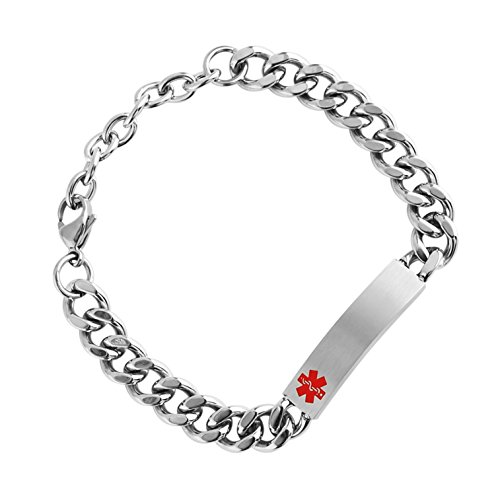 Sterling Silver Medical Alert Bracelets - HZMAN Mens Womens Stainless Steel ID Tag Medical Alert Emergency Bracelet Link Chain Wrist 7-9 inches Adjustable (Silver 1)