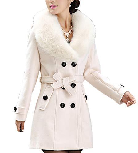 Longues D'hiver Double Breasted Mélange De Chaud Blouson Veste Manches Manteau Caban Femme Trench Laine Blanc xtqwSp0n8