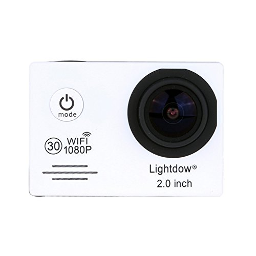 Lightdow LD6000 WiFi 1080P HD Sports Action Camera Bundle with DSP:Novatek NT96655 Chip, 2.0-Inch LTPS LCD, 170° Wide Angle Lens and Bonus Battery (White+WiFi) Action Cameras ZLY Technology