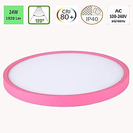TALOYA - Lampara de Techo color Rosa 24w, Luz Dia 6500k