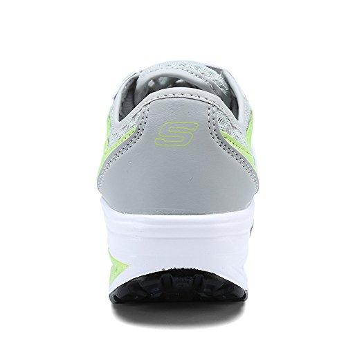 EnllerviiD Damen Sneaker Atmungsaktiv Mesh-oberfläche Schuhe Laufschuhe Plateau Freizeitsschuhe Grau-Grün 39