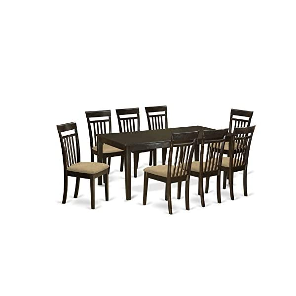 East West Furniture HECA9-CAP-C 9-Piece Set-a Self-Storing Butterfly Leaf Dining Table and 8 Wooden Linen Fabric Kitchen…