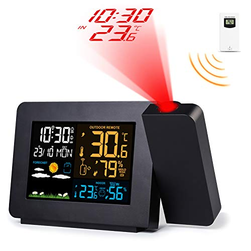 Burbupps Wireless Weather Station Color Projection Alarm Clock Temperature Humidity LCD Display