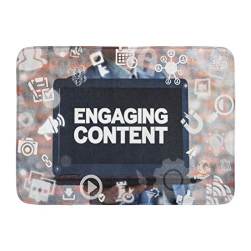 Emvency Bath Mat Engaging Content Marketing Success Mix Social Media Sharing Businessman Offers Laptop Text Video Bathroom Decor Rug 16