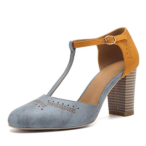 DOTACOKO Chunky High Heels Sandals for Women Vintage T-Strap Heeled Sandals Mary Jane Pumps Dress Shoes Light Blue ()