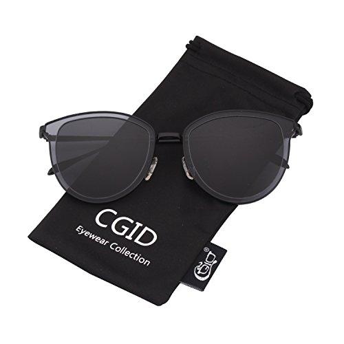 Espejo Gris Polarizado lente Círculo Marco de Sol Metálico Gafas Retro UV400 la Negro de MJ85 Doble CGID qxaRBw8q