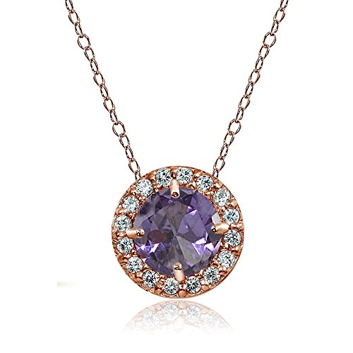 Rose Gold Flashed Sterling Silver Simulated Alexandrite and Cubic Zirconia Accents Round Halo (Gemstone Alexandrite Necklaces)