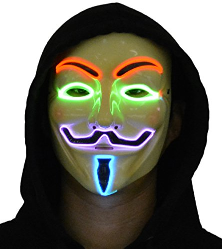 JenniWears V for Vendetta Guy Fawkes LED Anonymous Rave Mask EL Wire Multicolor for Party Halloween