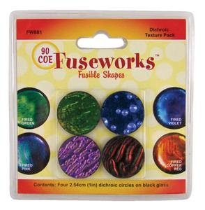 Fuseworks Dichroic Texture Fusible Glass Shapes, 1-Inch Round Disks, Assorted Colors, 4-Pack (Love Dichroic Glass)