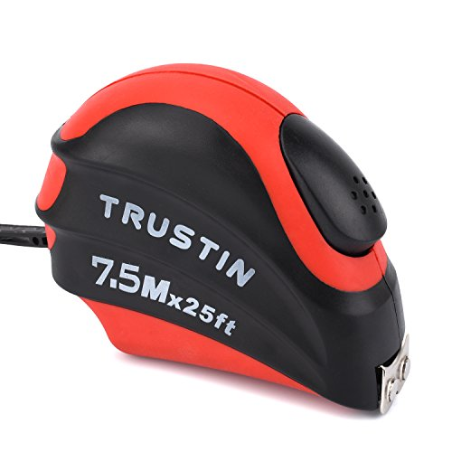 Measuring Tape Measure by Trustin - 25 Foot Retractable Heavy Duty with Magnetic Hook, Metric and Inches Measurement, Shock Absorbent Rubber Case - Professional Ruler