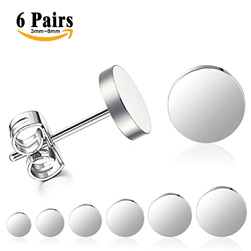 LIEBLICH Silver Round Stud Earrings Set Stainless Steel Ear Studs for Men Women 6 Pairs 3mm-8mm … (Silver)