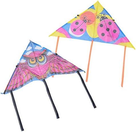 Abaodam 6 stks Waterdichte Zijde Vliegende Kites voor Kids Jongens Girsl Childrens Vliegende Speelgoed Uil Lieveheersbeestje Driehoek Kite Games Levert Willekeurige Stijl 60 cm