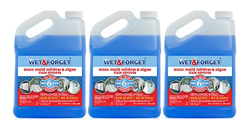 Wet and Forget Moss, Mold, Mildew & Algae Stain Remover, 1 Gallon Concentrate Make 6 Gallons - 3 Pack