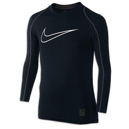 Nike Kids Boys KidsLittle Cool HBR Fitted Long Sleeve (Little Big Kids), Black/Anthracite/White, XL (18-20