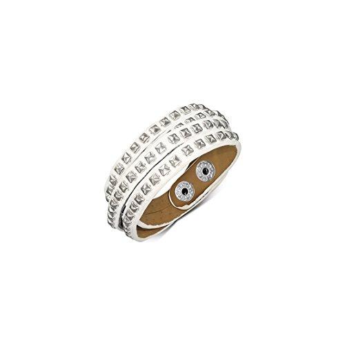 Genuine White Leather Square Pyramid Stud Multi-Wrap Snap Bracelet Length: ()