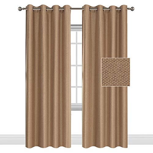 sulated Faux Linen Textured Room Darkening Brown Beige Curtain Heavy Weight Textured Tiny Plaid Linen Grommet Curtains/Drapery for Living Room Bedroom, 52x84-inch, Two Panels ()