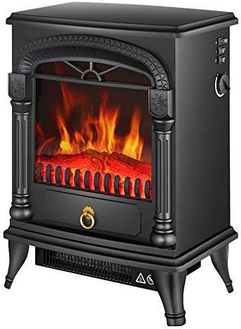 凹型電気暖炉 インテリジェントヒーターホームデコレーション暖炉 - ログウッドバーナー影響でポータブル電気ストーブ自立 - 2000W屋内暖炉