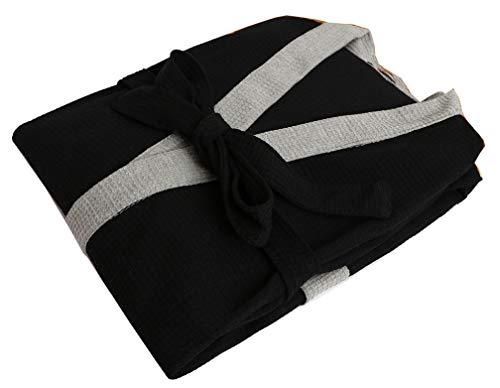 Seaoeey Hotel Robe Men's Cotton Waffle-Weave Kimono Bathrobe Black-Gray Small ()