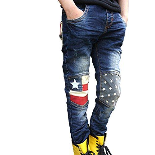 Csbks Boys Jeans Slim Fit Stretch Washed Pull On Denim Pants 150 Blue