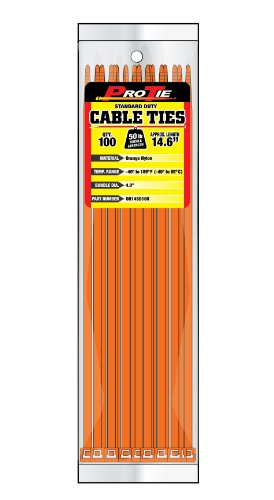 Pro Tie OR14SD100 14.6-Inch Orange Standard Duty Color Cable Tie, Orange Nylon, ()