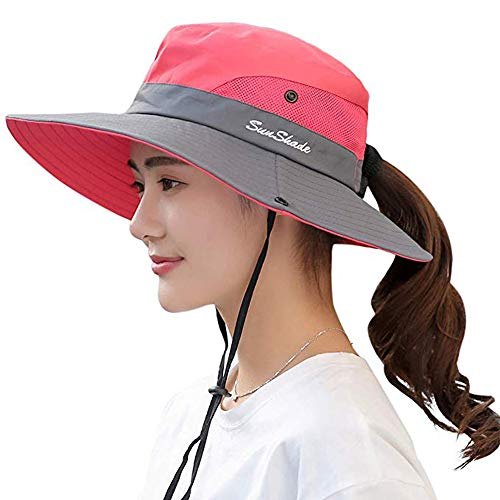 Ponytail Women's Summer Sun Bucket Hats UV Protection Safari Hiking Wide Brim Beach Foldable Mesh Fishing Cap (One Size, C-Watermelon Red) ()