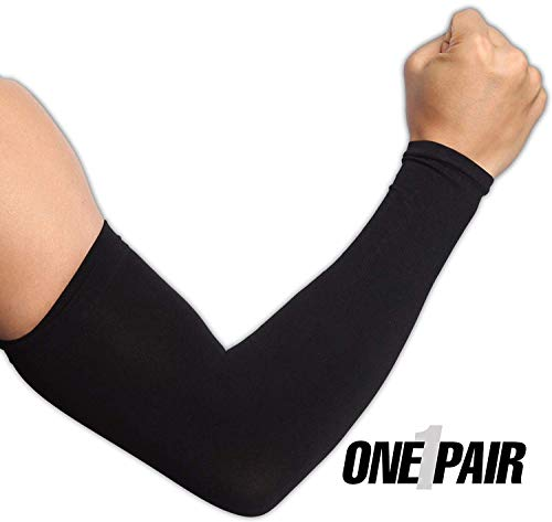 Tough Outdoors UV Protection Cooling Arm Sleeves, UPF 50 Long Sun Sleeves for Men and ()