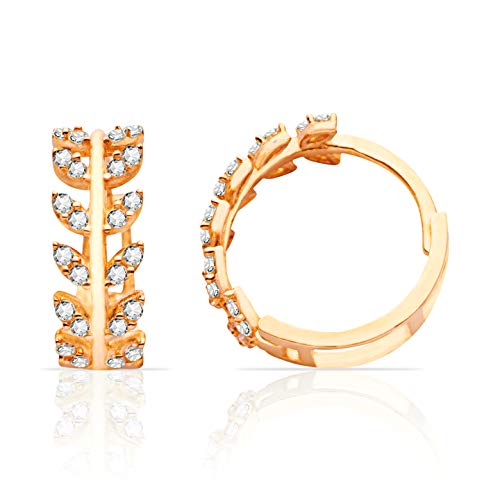 NEW 14K Yellow Gold Huggie Hoop Earrings With Branch and Leaves Design for Women and Girls ()