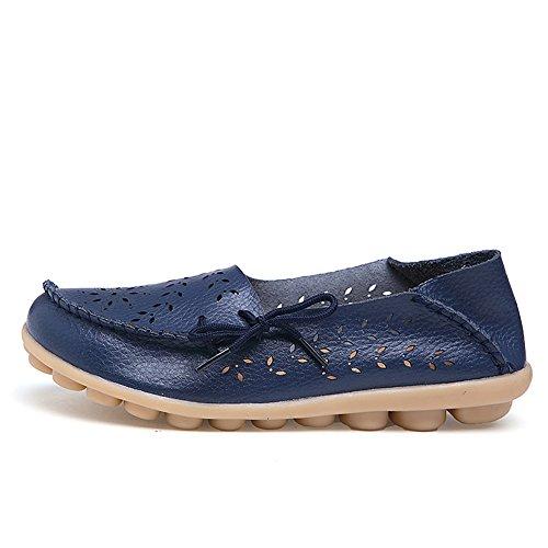 Lucksender Mujeres Ahueca Hacia Fuera Los Zapatos De Mocasines Casuales De Conducción De Cuero Informal Azul Oscuro