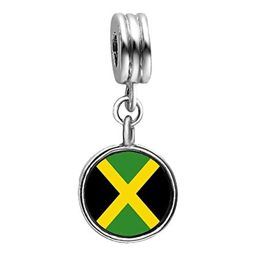 GiftJewelryShop Jamaica flag Photo Light Amethyst Crystal June Birthstone Flower Dangle Charm Bracelets