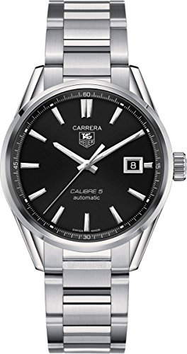 WAR211A.BA0782 Watch Tag Heuer Men's Carrera Stainless steel case, Stainless steel bracelet, Black dial, Automatic movement, Scratch resistant sapphire, Water resistant up to 10 ATM - 100 meters - 330 feet