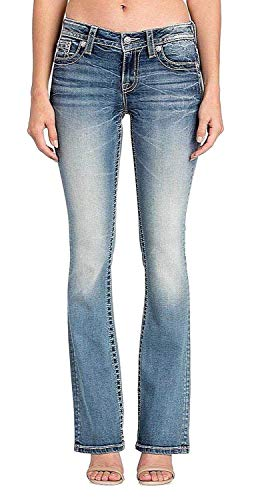 Miss Me Butterfly Rose Flower Border Medium Wash Mid-Rise Boot Cut Women's Jeans M3332B (27) from Miss Me