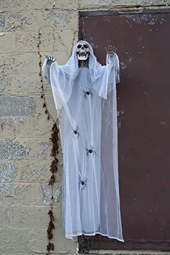 4E's Novelty Halloween Hanging Creepy Spooky Angel Skull Props – 78 Inches – Horror Scene Decorations, Outdoor Yard Décor, with Gray and White Web Cloth, with Huge Spiders Crawling Around