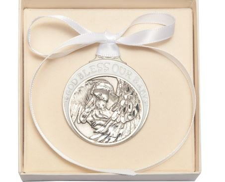 Pewter Baby with Guardian Angel Crib Medal with White Ribbon - Boxed by Truefaithgifts