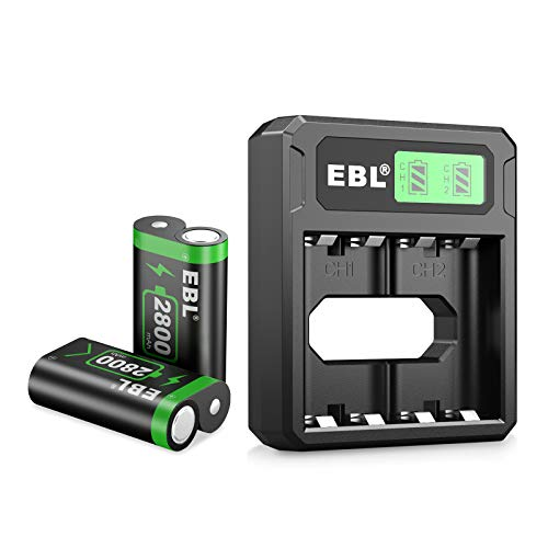 EBL Controller Battery Pack Compatible for Xbox One Rechargeable Battery Pack for Xbox One/Xbox One S/Xbox One X/Xbox One Elite Controllers (2 Batteries with Charger)