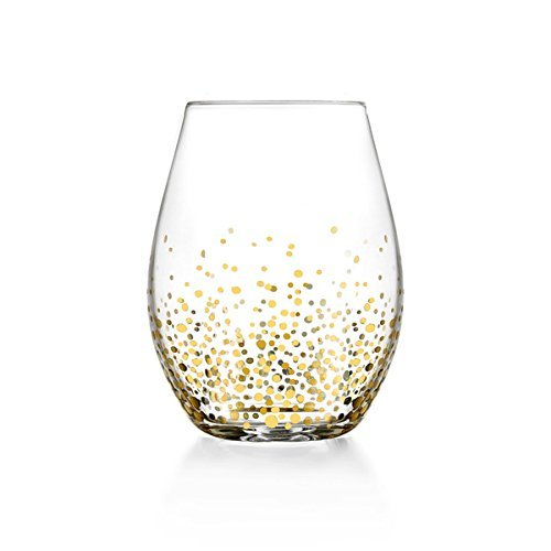 gold sparkles wine glass, wine, gift guide, gold polka dot wine glasses