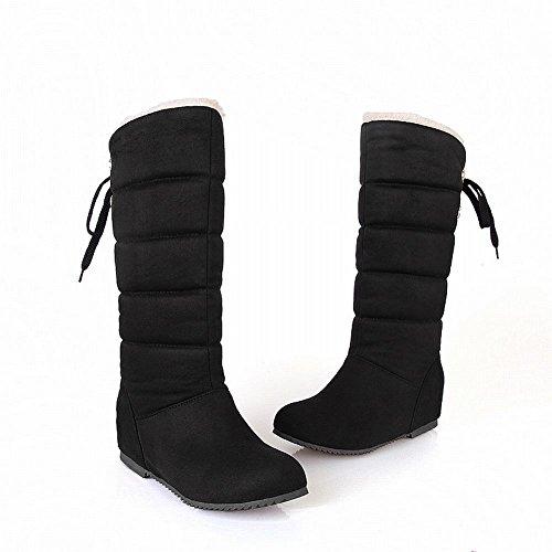 Carolbar Womens Lace Up Caldo Moda Comfort Freddo Tempo Nascosto Stivali Da Neve Con Tacco A Spillo Nero