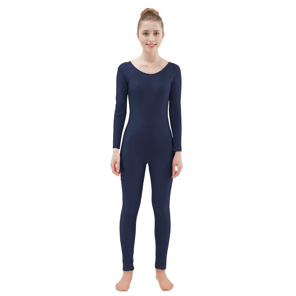 Ensnovo Womens Spandex Bodysuit Long Sleeve Scoop Neckline Footless Unitard Navy,XXL by Ensnovo