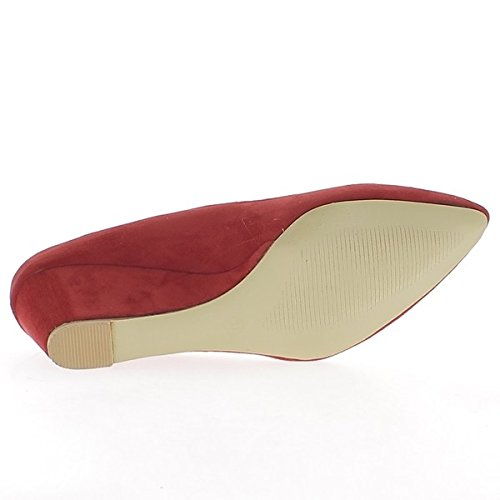 Pointed ChaussMoi Suede Women Aspect Heel Compensated Shoes red 5 5 cm Pdqrwdp