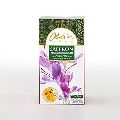 Olinda Saffron Green Tea, Natural Herbs and Ingredients, 28 Tea Bags (Pack of 1)