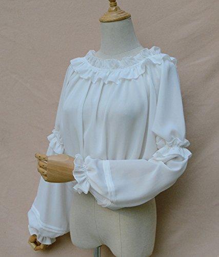 Maniche Ragazze Donna Senza Lunghe Bianco Camicia Lolita Camicetta Spalline In Chiffon Cosplayitem 50W6Rqx5