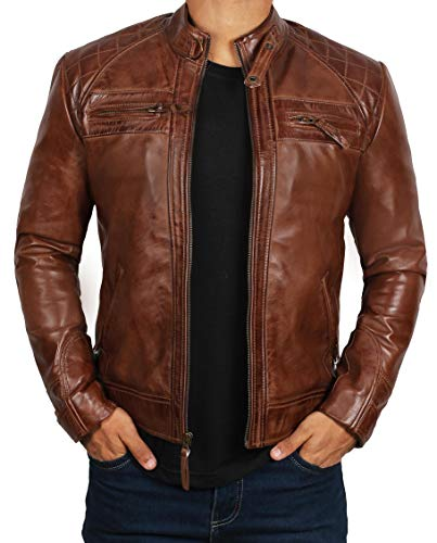 eather Jacket Biker Distressed Brown | [1100085] Brown Johnson, XL ()