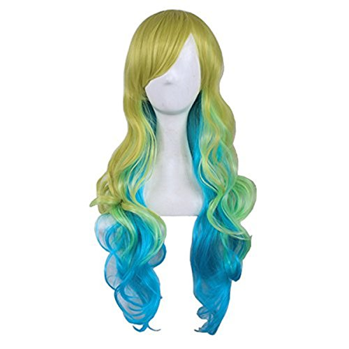 Nice Carnival Costumes (Long Curly Wavy Halloween Cosplay Wigs Multicolor Full Synthetic Hair for Women Costume Party with Wig Cap ( Yellow Green and Blue ) A-BU112)