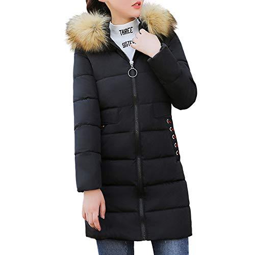 Women's Faux Fur Hooded Thick Coat, Ladies Slim Jacket Long Overcoat Winter Warm Overcoat