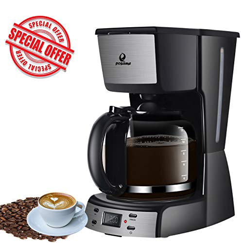 (Coffee Maker 12 Cup Programmable Smart Drip Coffeemaker Coffee Brew Machine with 1.8L Glass Carafe Black by Posame)
