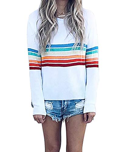 Lucuna Women Casual Blouse Crew Neck Long Sleeve Colorful Block Stripe Shirt, White, Large from Lucuna