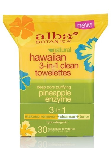 Alba Botanica Hawaiian 3-in-1 Clean Towelettes, 30 Count, Pa