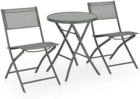vidaXL Set Muebles Comedor Plegable Jardín 3 Piezas Acero Textileno ...